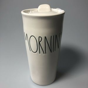 Rae Dunn  MORNIN  Travel Coffee Tea Tumbler Mug